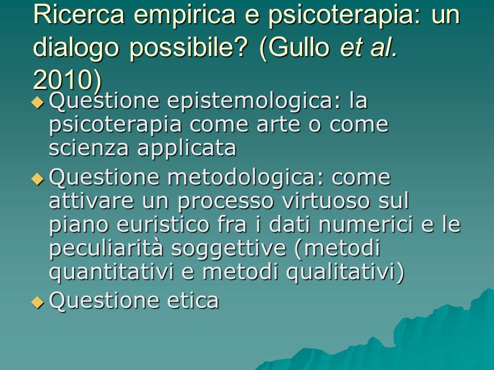 Ricerca empirica e psicoterapia: un dialogo possibile. (Gullo et al