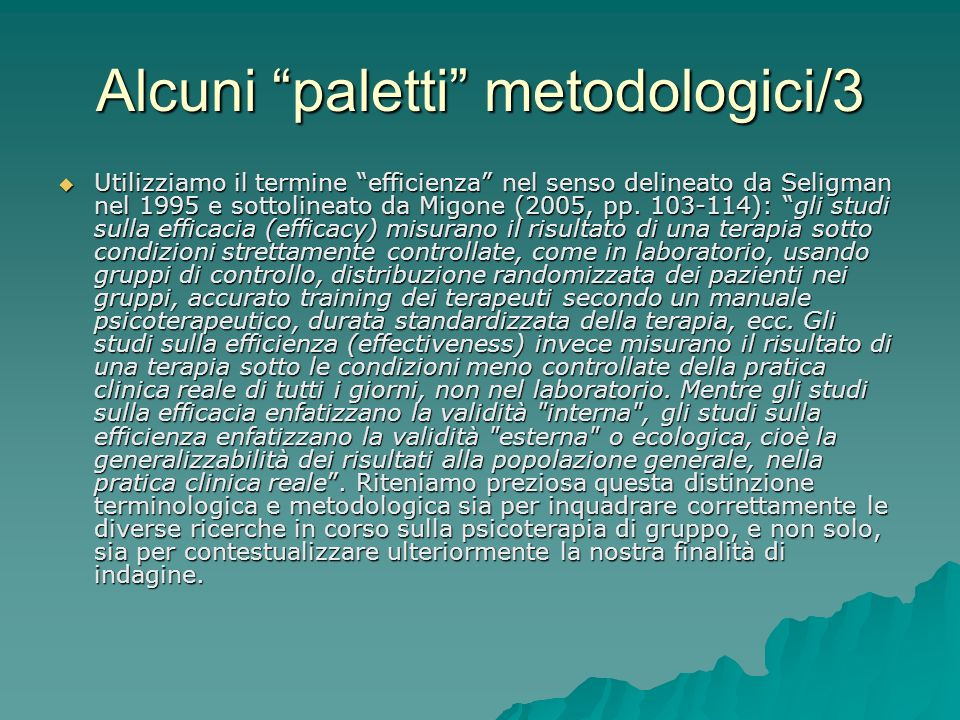 Alcuni paletti metodologici/3