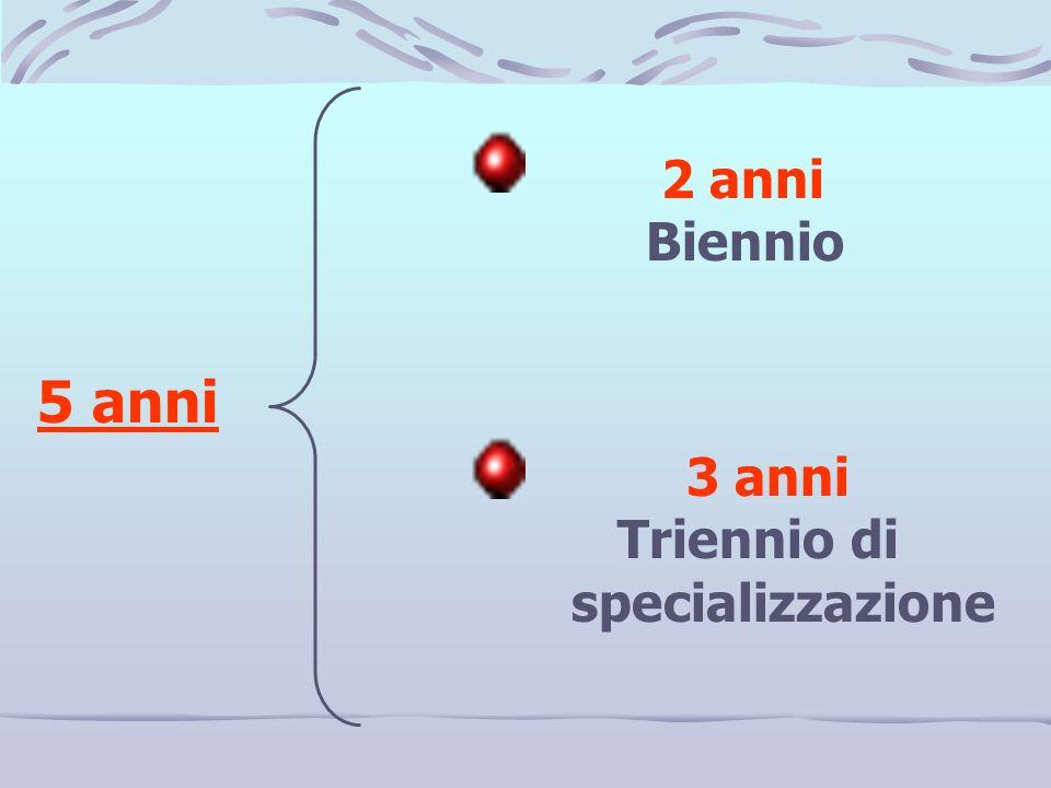 2 anni Biennio 5 anni 3 anni Triennio di specializzazione