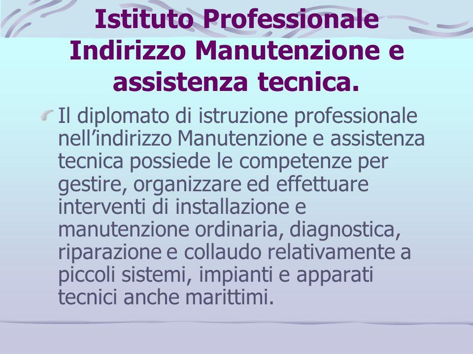 Istituto Professionale Indirizzo Manutenzione e assistenza tecnica.