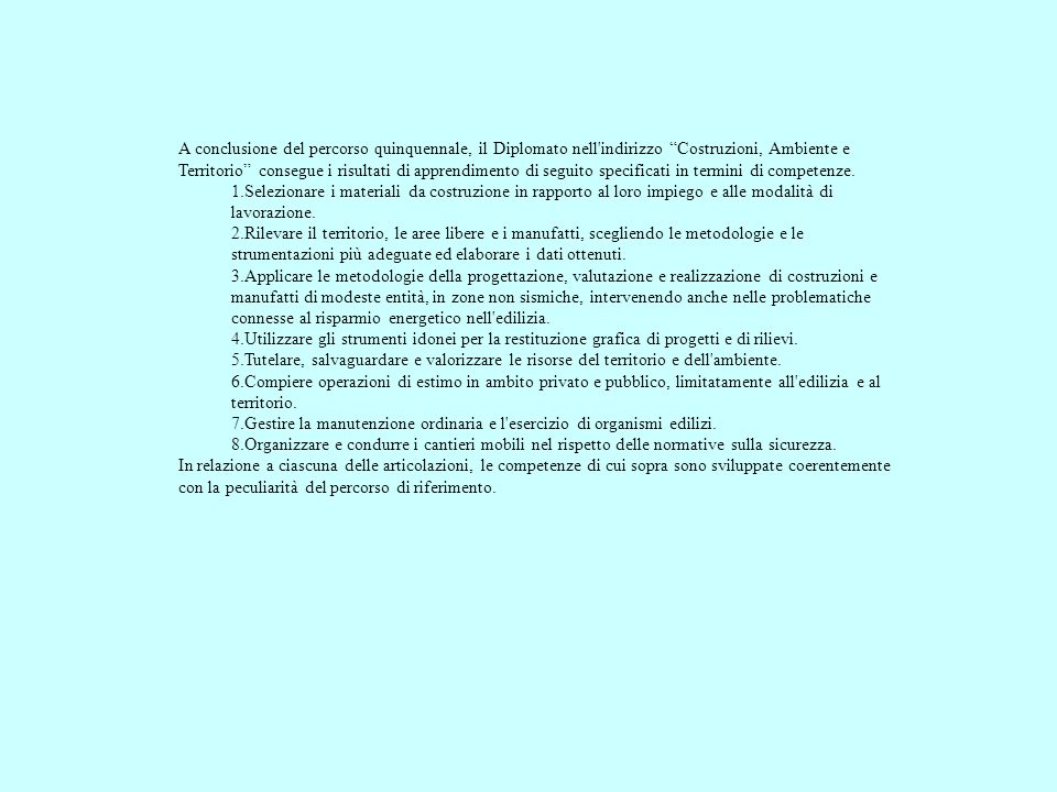 A conclusione del percorso quinquennale, il Diplomato nell indirizzo Costruzioni, Ambiente e Territorio consegue i risultati di apprendimento di seguito specificati in termini di competenze.
