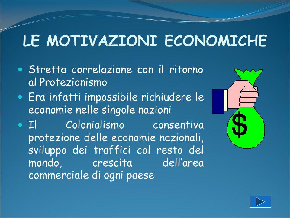 LE MOTIVAZIONI ECONOMICHE