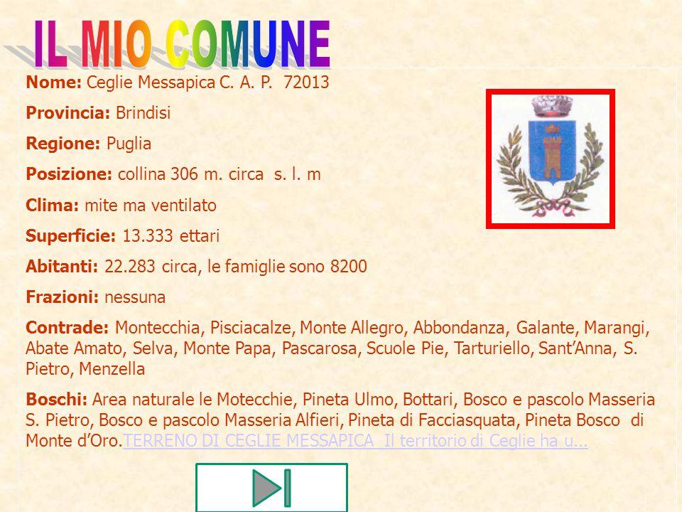 IL MIO COMUNE Nome: Ceglie Messapica C. A. P. 72013