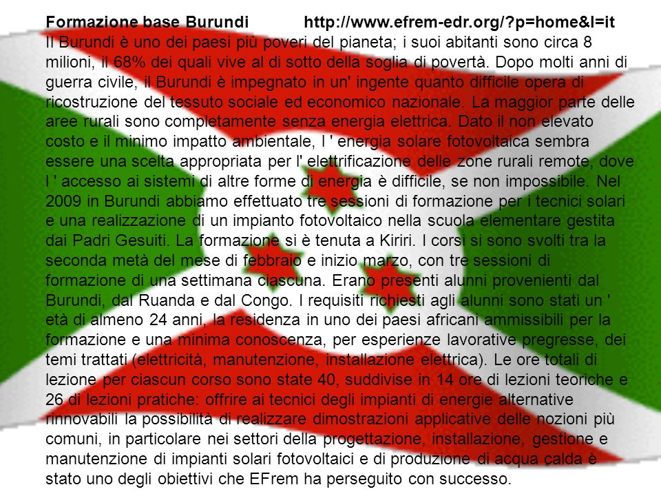 Formazione base Burundi http://www.efrem-edr.org/ p=home&l=it