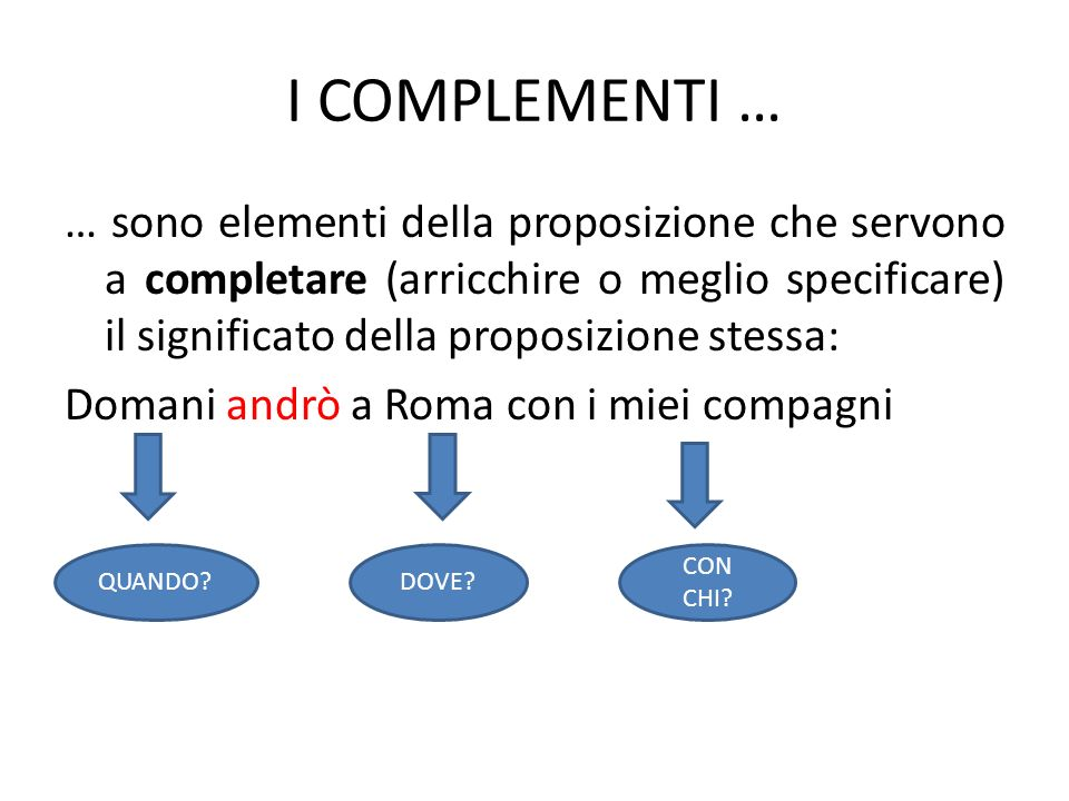 I COMPLEMENTI …