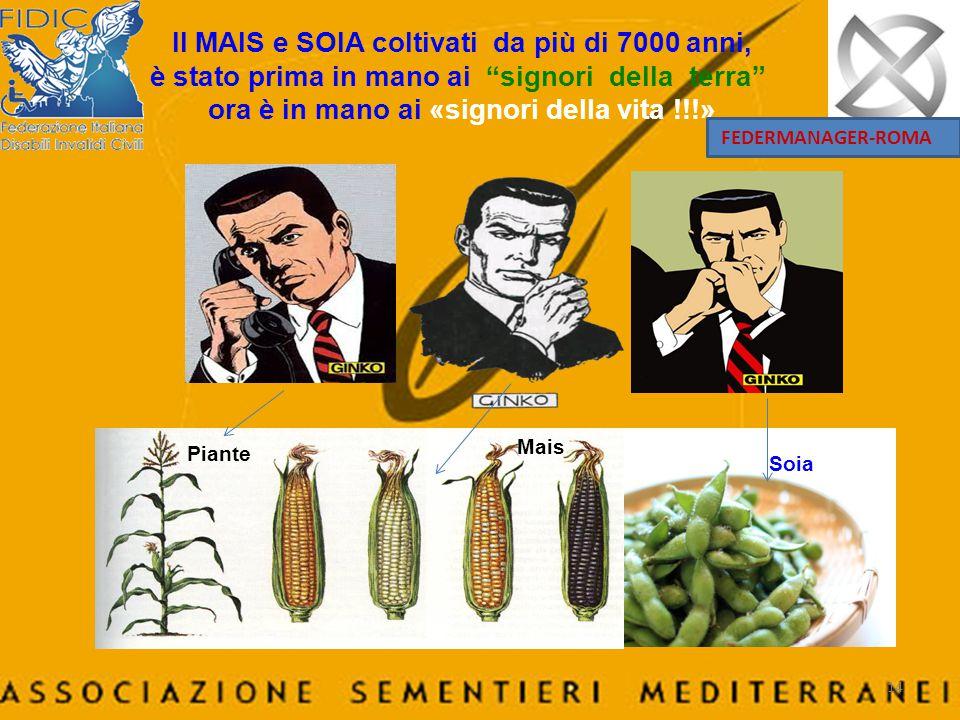 Il MAIS e SOIA coltivati da più di 7000 anni, è stato prima in mano ai signori della terra ora è in mano ai «signori della vita !!!»