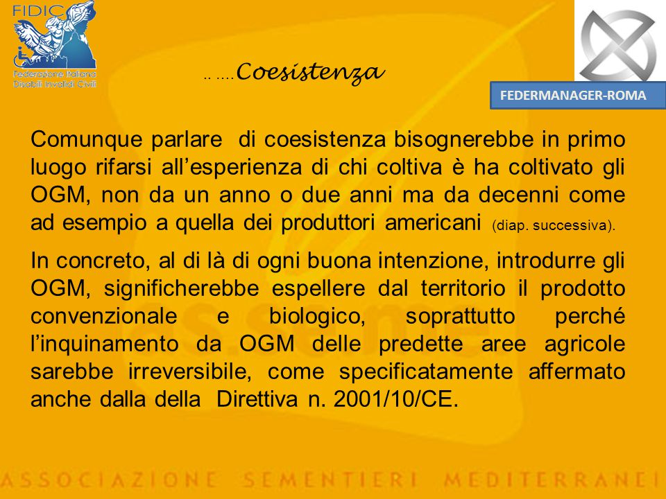 .. ….Coesistenza FEDERMANAGER-ROMA.