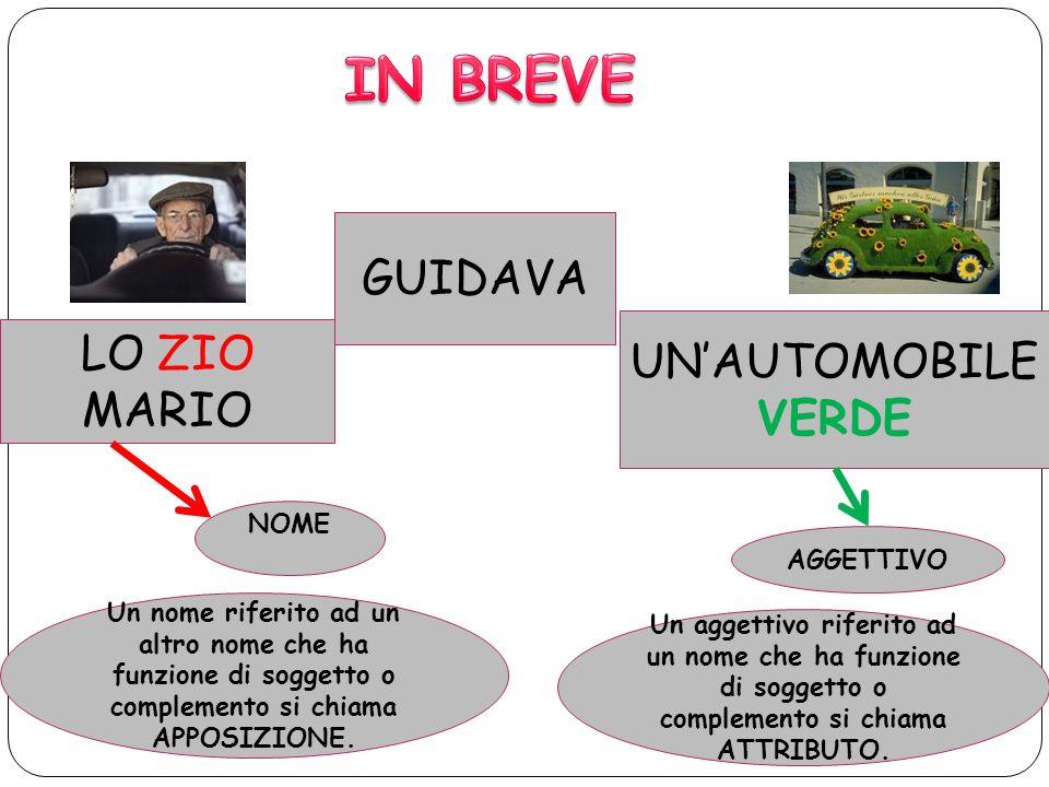 IN BREVE GUIDAVA UN'AUTOMOBILE VERDE LO ZIO MARIO NOME AGGETTIVO