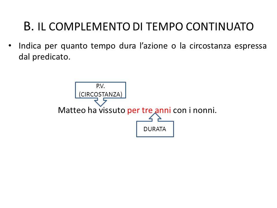 B. IL COMPLEMENTO DI TEMPO CONTINUATO