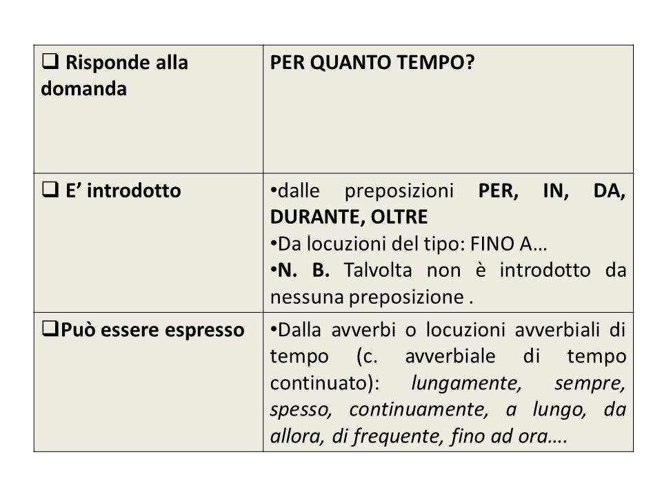 Risponde alla domanda PER QUANTO TEMPO E' introdotto. dalle preposizioni PER, IN, DA, DURANTE, OLTRE.