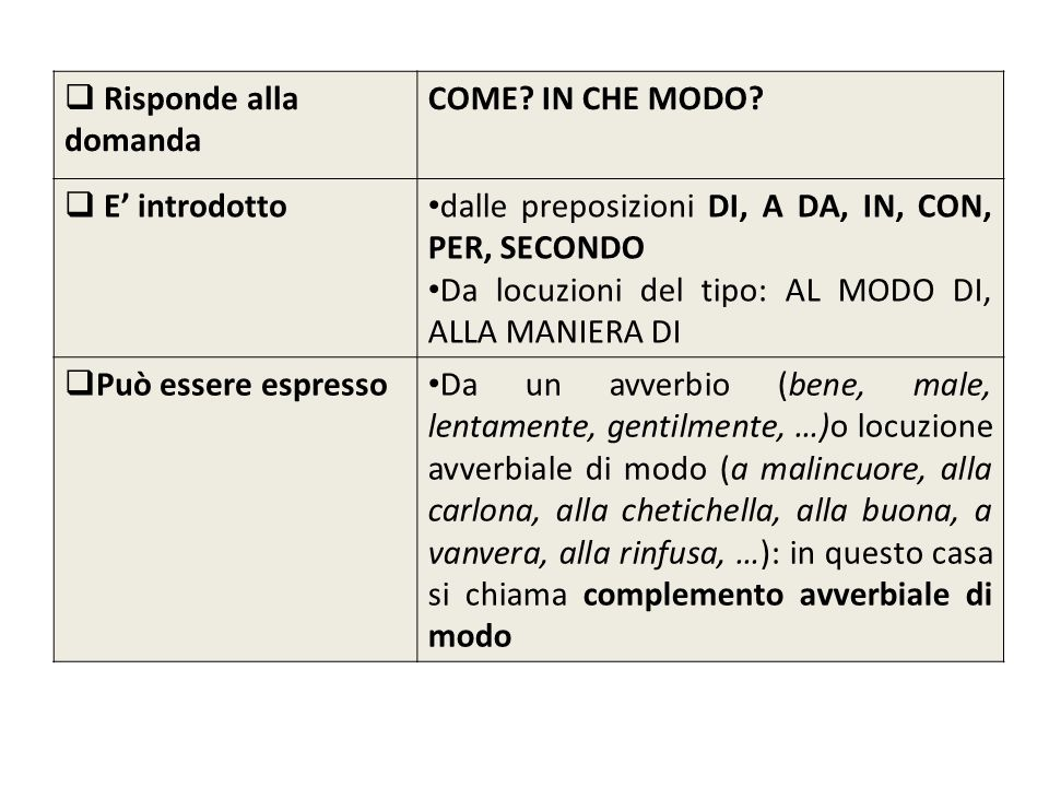 Risponde alla domanda COME IN CHE MODO E' introdotto. dalle preposizioni DI, A DA, IN, CON, PER, SECONDO.