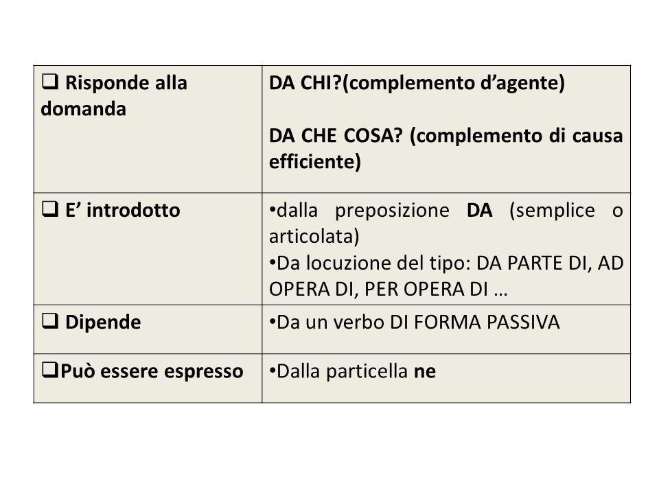 Risponde alla domanda DA CHI (complemento d'agente) DA CHE COSA (complemento di causa efficiente)