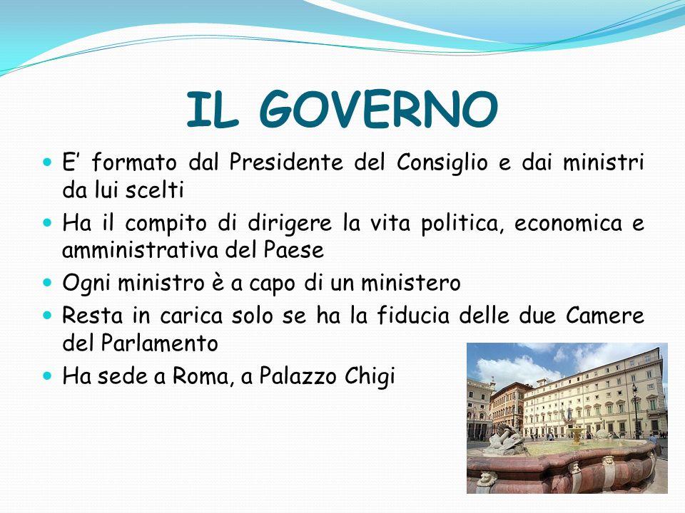 IL GOVERNO E' formato dal Presidente del Consiglio e dai ministri da lui scelti.