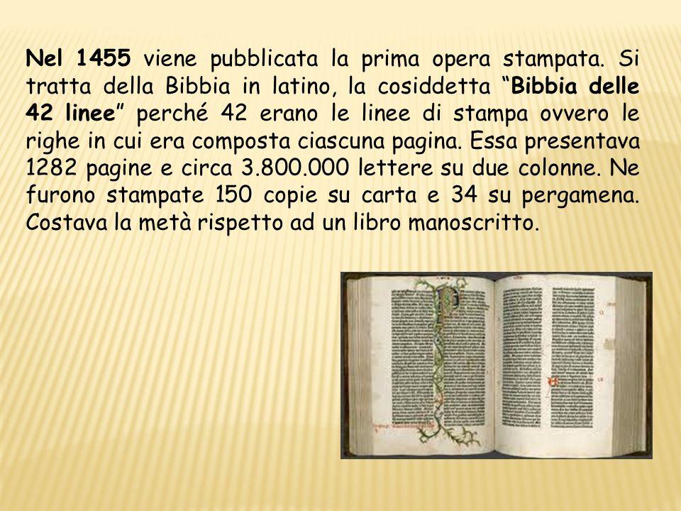 Nel 1455 viene pubblicata la prima opera stampata
