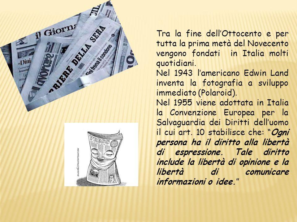 Tra la fine dell'Ottocento e per tutta la prima metà del Novecento vengono fondati in Italia molti quotidiani.