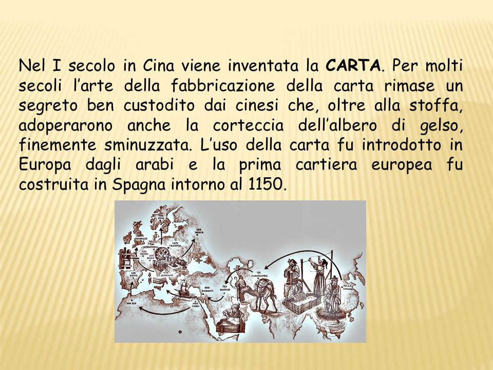 Nel I secolo in Cina viene inventata la CARTA