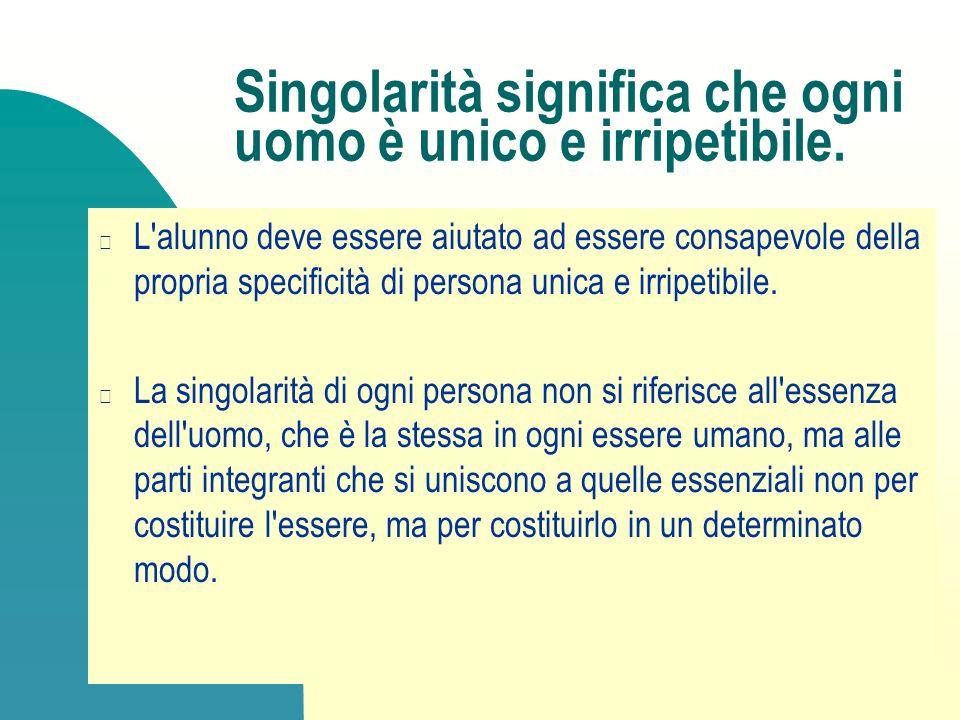 Singolarità significa che ogni uomo è unico e irripetibile.