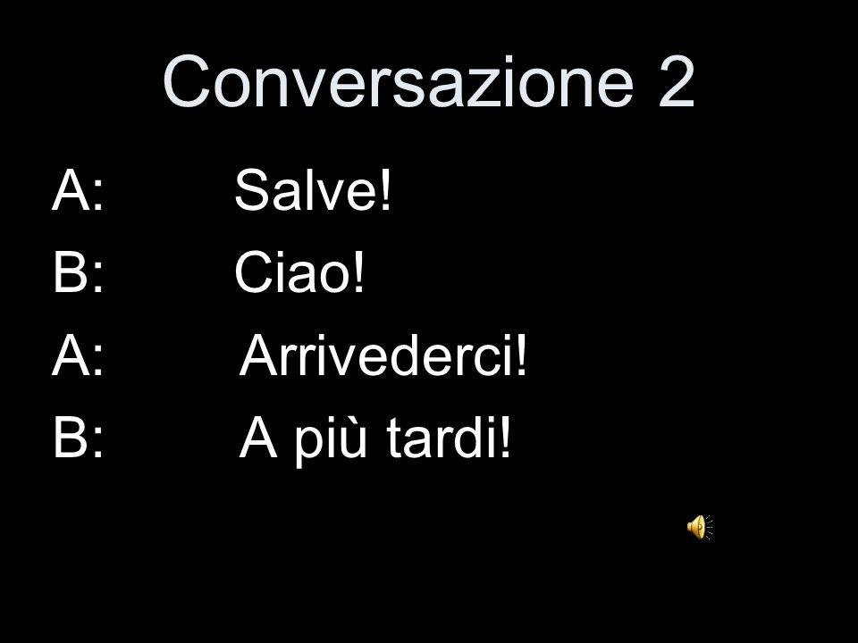Conversazione 2 A: Salve! B: Ciao! A: Arrivederci! B: A più tardi!