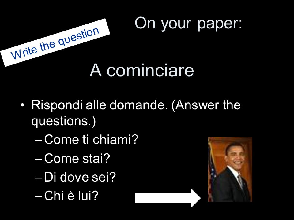 A cominciare On your paper: