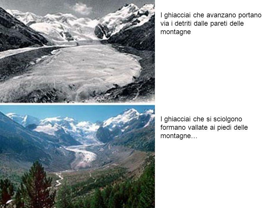 I ghiacciai che avanzano portano via i detriti dalle pareti delle montagne
