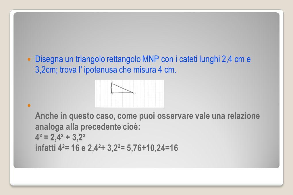 Disegna un triangolo rettangolo MNP con i cateti lunghi 2,4 cm e 3,2cm; trova l ipotenusa che misura 4 cm.