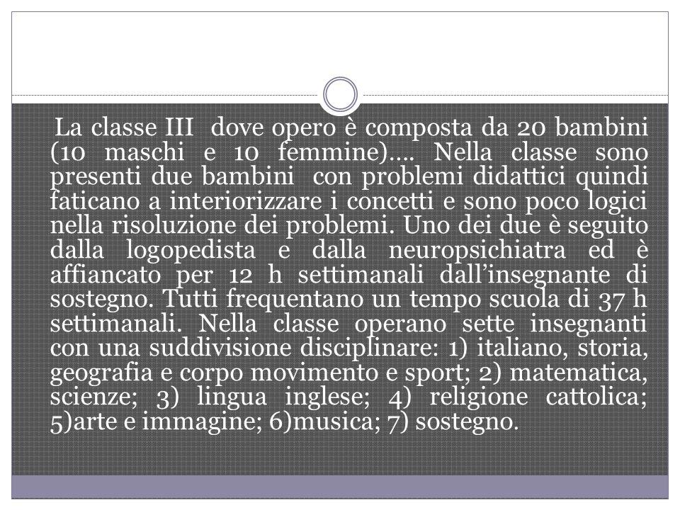 La classe III dove opero è composta da 20 bambini (10 maschi e 10 femmine)….