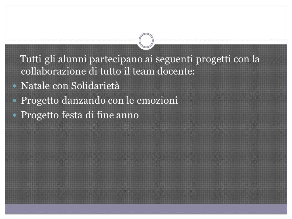 Tutti gli alunni partecipano ai seguenti progetti con la collaborazione di tutto il team docente: