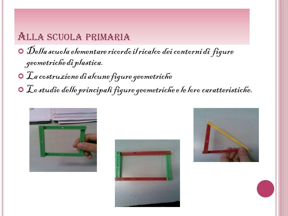 Alla scuola primaria Della scuola elementare ricordo il ricalco dei contorni di figure geometriche di plastica.