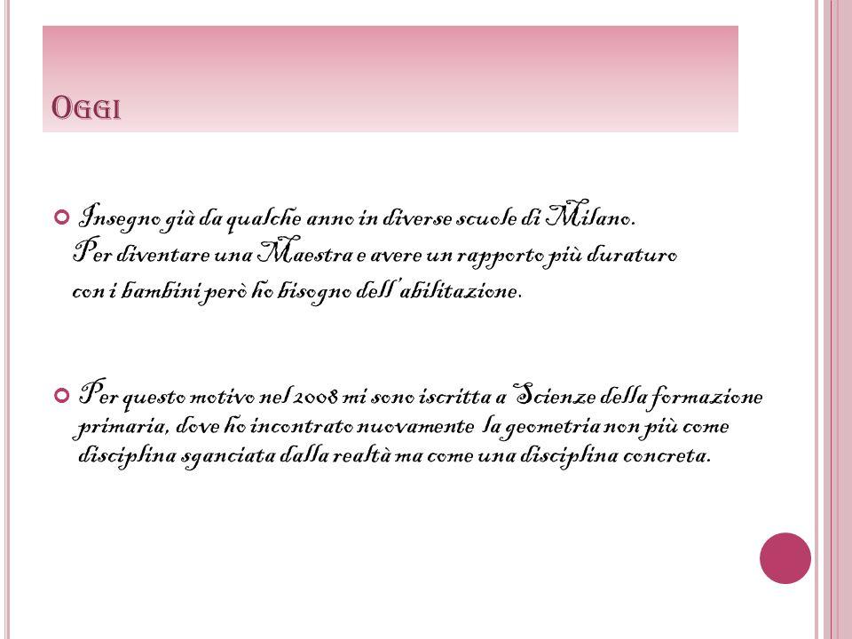 Oggi Insegno già da qualche anno in diverse scuole di Milano.