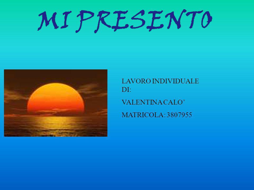 MI PRESENTO LAVORO INDIVIDUALE DI: VALENTINA CALO' MATRICOLA: 3807955