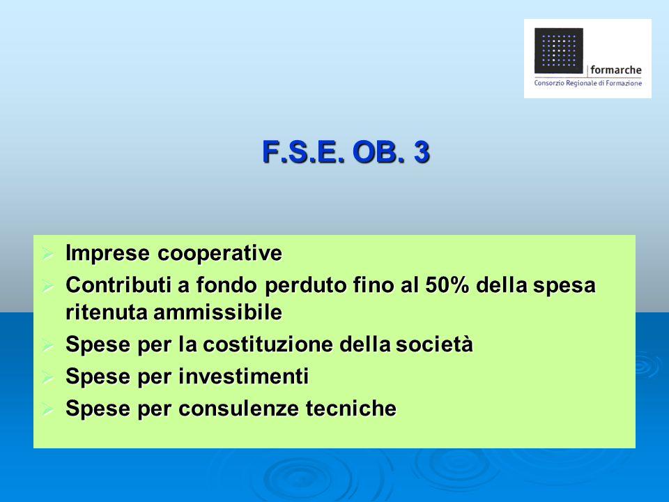 F.S.E. OB. 3 Imprese cooperative