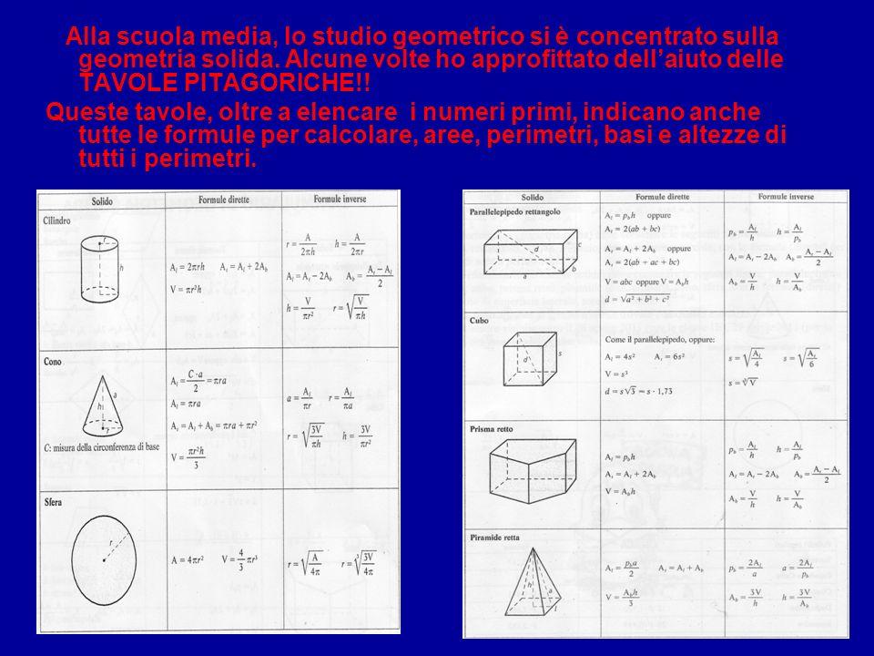 Alla scuola media, lo studio geometrico si è concentrato sulla geometria solida. Alcune volte ho approfittato dell'aiuto delle TAVOLE PITAGORICHE!!