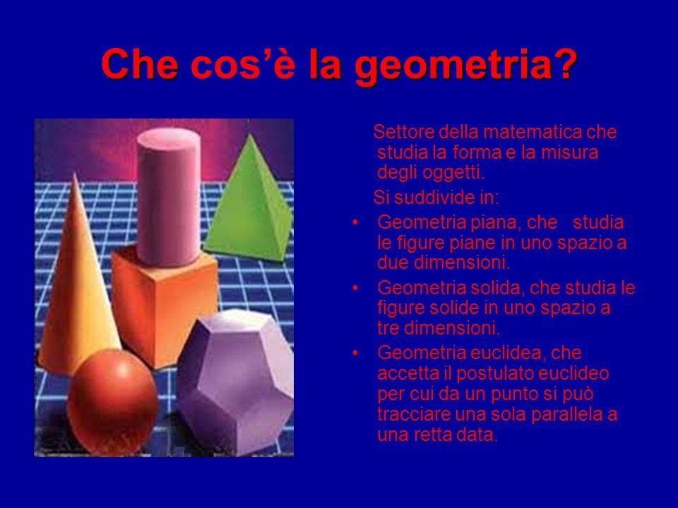Che cos'è la geometria Settore della matematica che studia la forma e la misura degli oggetti. Si suddivide in: