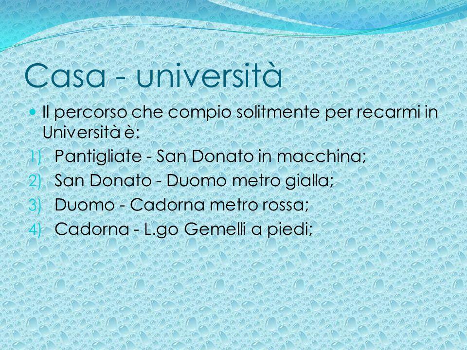 Casa - università Il percorso che compio solitmente per recarmi in Università è: Pantigliate - San Donato in macchina;