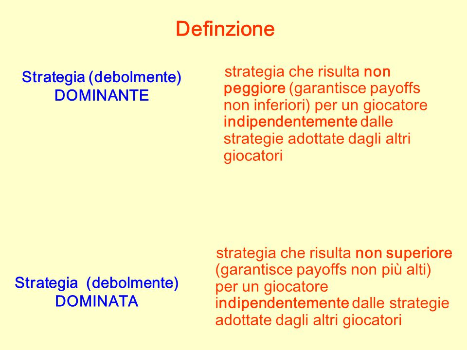 Strategia (debolmente) DOMINANTE Strategia (debolmente) DOMINATA