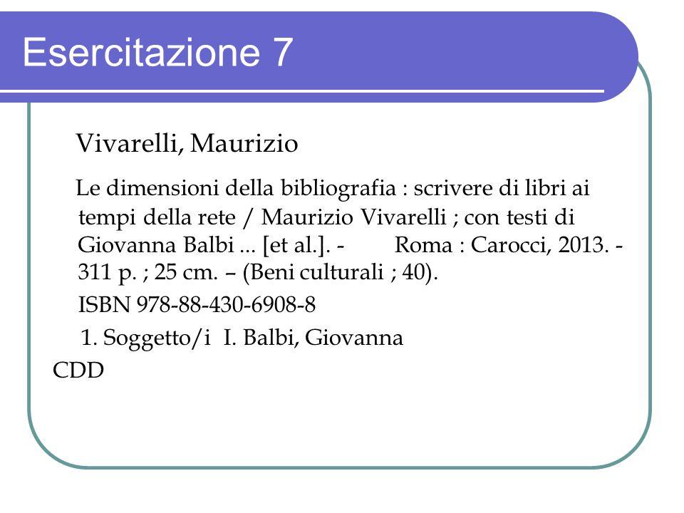 Esercitazione 7 Vivarelli, Maurizio