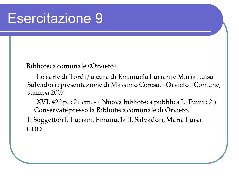 Esercitazione 9 Biblioteca comunale <Orvieto>