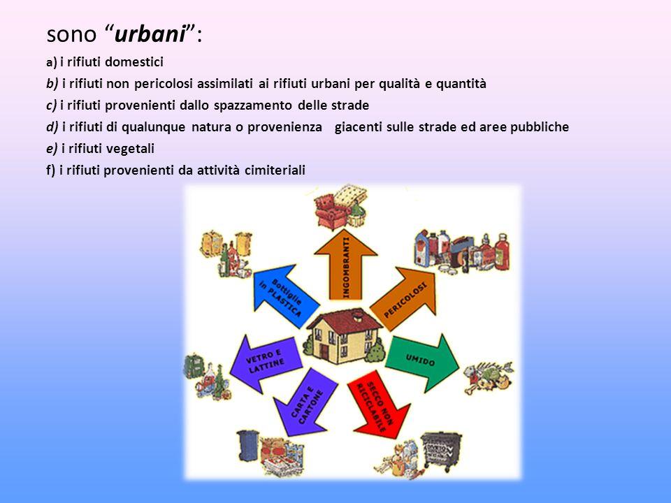 sono urbani : a) i rifiuti domestici. b) i rifiuti non pericolosi assimilati ai rifiuti urbani per qualità e quantità.