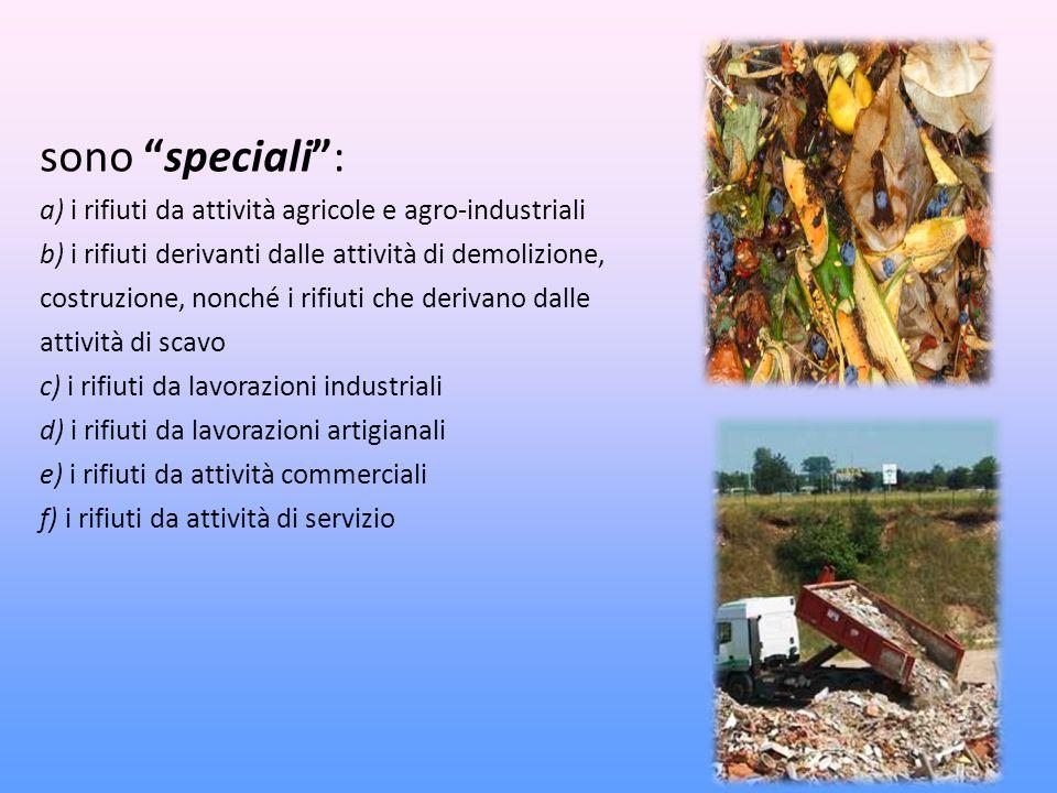 sono speciali : a) i rifiuti da attività agricole e agro-industriali