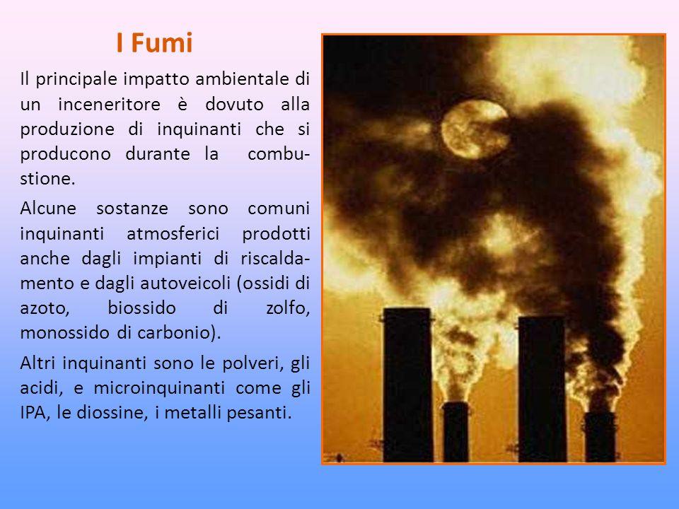 I Fumi Il principale impatto ambientale di un inceneritore è dovuto alla produzione di inquinanti che si producono durante la combu-stione.