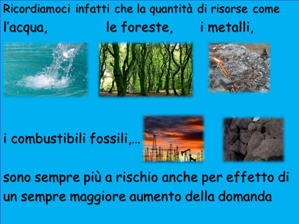 l'acqua, le foreste, i metalli,