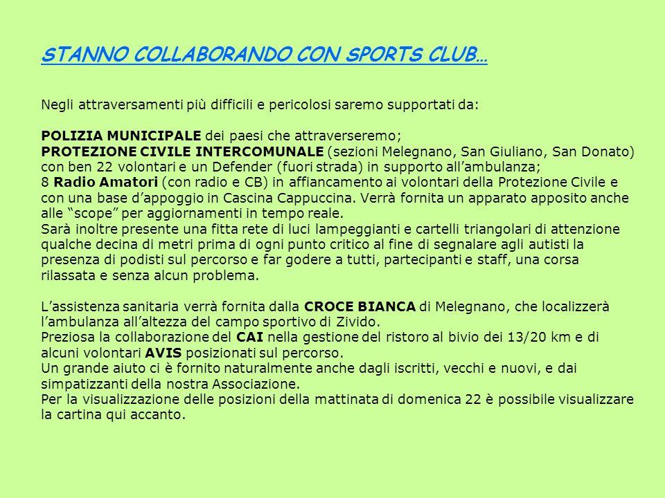 STANNO COLLABORANDO CON SPORTS CLUB… Negli attraversamenti più difficili e pericolosi saremo supportati da: POLIZIA MUNICIPALE dei paesi che attraverseremo; PROTEZIONE CIVILE INTERCOMUNALE (sezioni Melegnano, San Giuliano, San Donato) con ben 22 volontari e un Defender (fuori strada) in supporto all'ambulanza; 8 Radio Amatori (con radio e CB) in affiancamento ai volontari della Protezione Civile e con una base d'appoggio in Cascina Cappuccina.