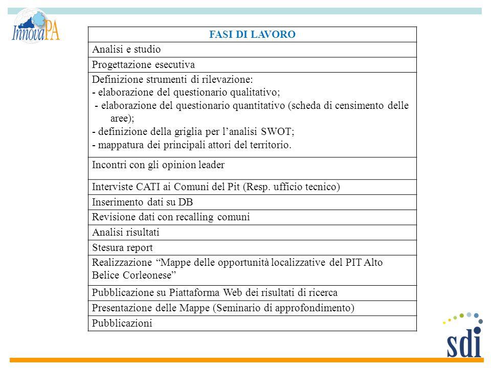 FASI DI LAVORO Analisi e studio. Progettazione esecutiva. Definizione strumenti di rilevazione: - elaborazione del questionario qualitativo;
