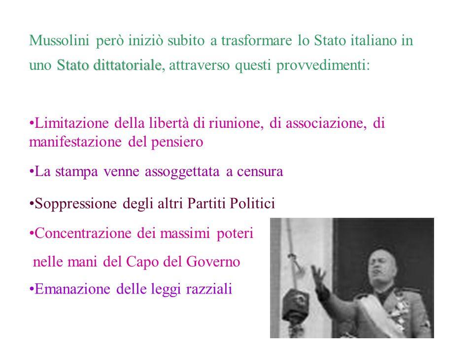 Mussolini però iniziò subito a trasformare lo Stato italiano in uno Stato dittatoriale, attraverso questi provvedimenti: