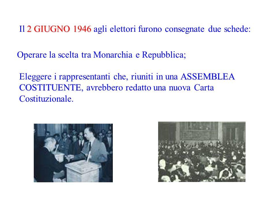 Il 2 GIUGNO 1946 agli elettori furono consegnate due schede: