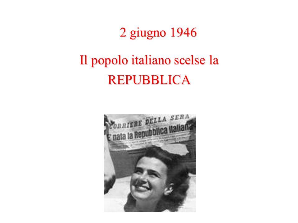 Il popolo italiano scelse la REPUBBLICA