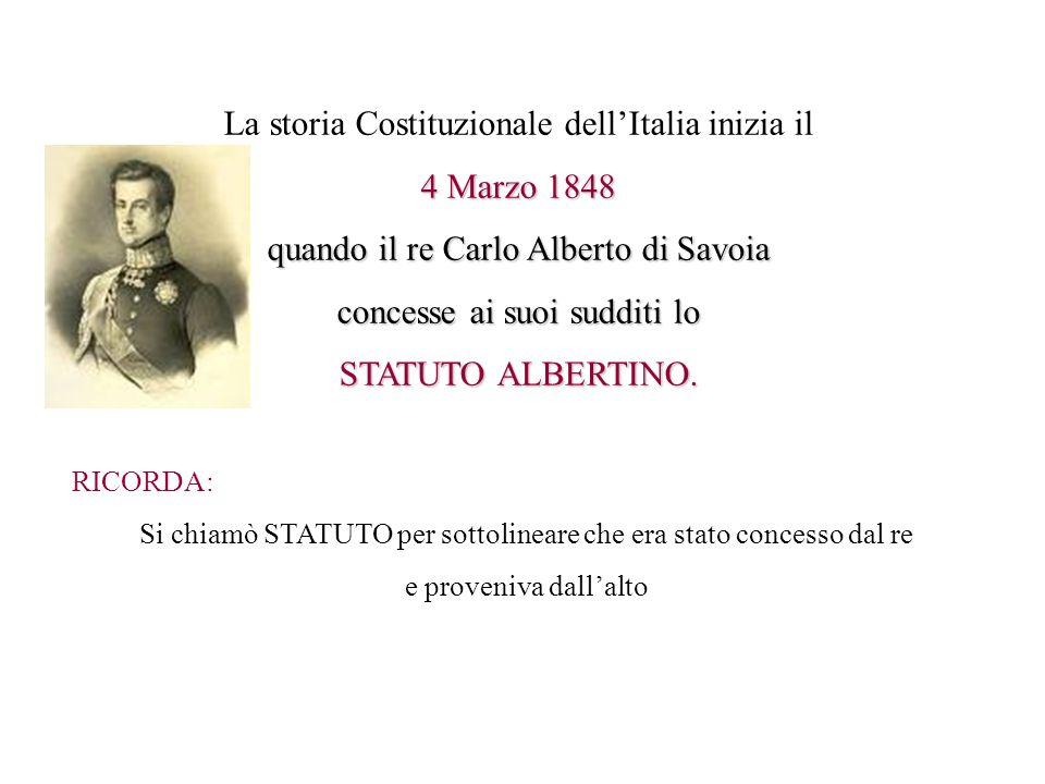 La storia Costituzionale dell'Italia inizia il 4 Marzo 1848