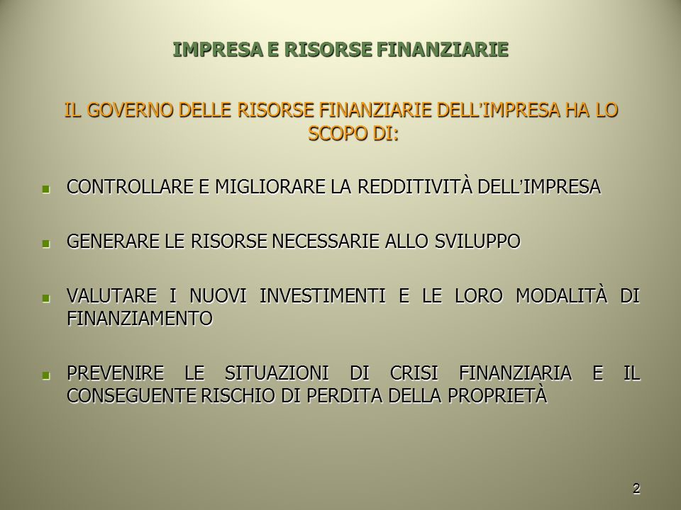 IMPRESA E RISORSE FINANZIARIE
