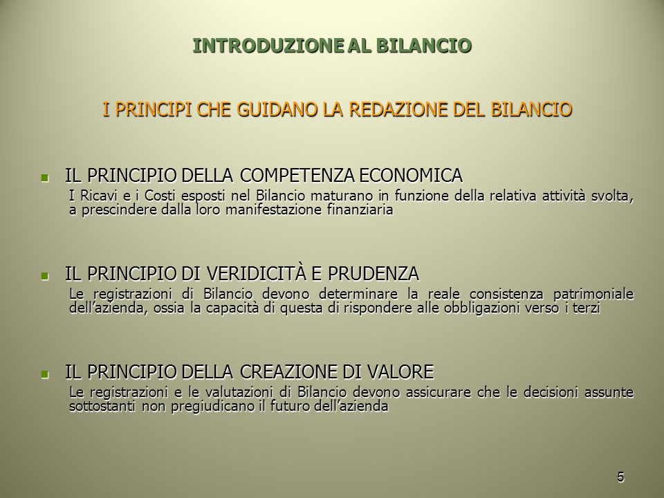 INTRODUZIONE AL BILANCIO
