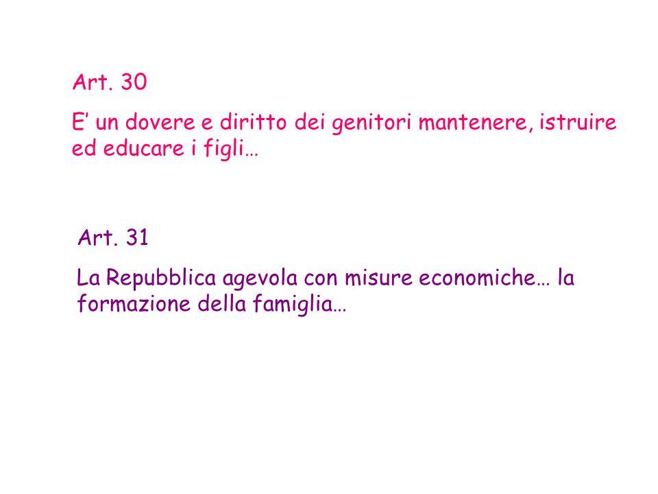 Art. 30 E' un dovere e diritto dei genitori mantenere, istruire ed educare i figli… Art. 31.